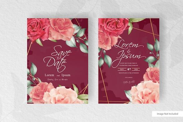 Шаблон свадебного приглашения акварель с красочными цветочными