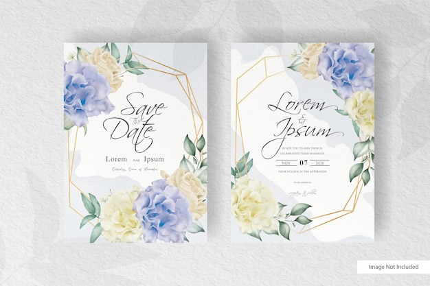 Watercolor wedding invitation template with colorful floral