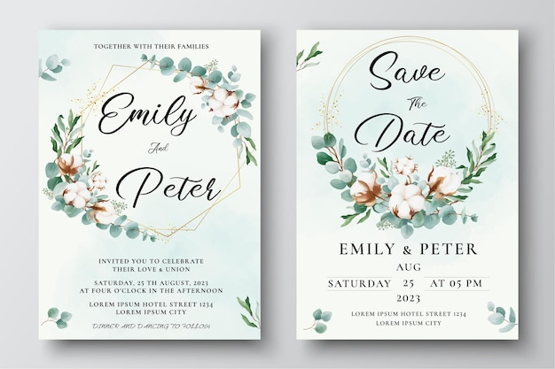 Watercolor wedding invitation template with cotton flowers and eucalyptus leaves