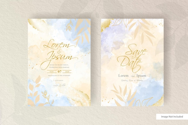 フラット花柄と手描きの液体水彩画の水彩画の結婚式の招待状テンプレート