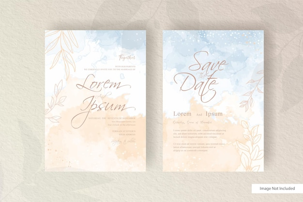 Watercolor wedding invitation template with flat floral design and hand painted liquid watercolor
