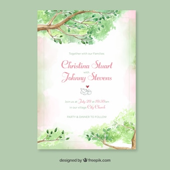 Watercolor wedding invitation template with floral style