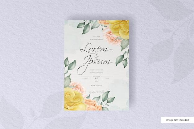 꽃과 잎 배열 수채화 청첩장 서식 파일
