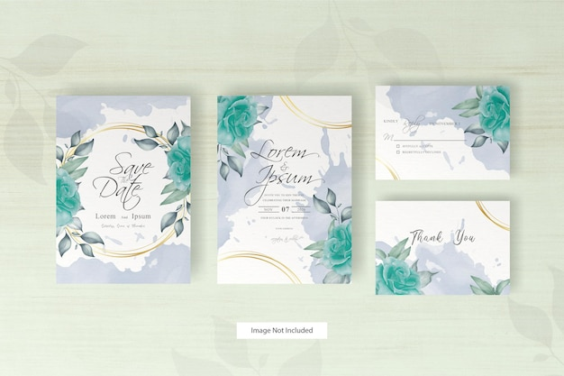 Watercolor wedding invitation template with flower and leaves arrangement