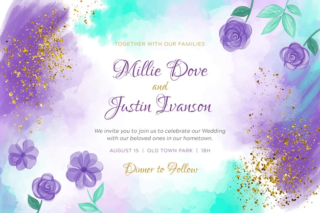 Watercolor wedding invitation template with flowers
