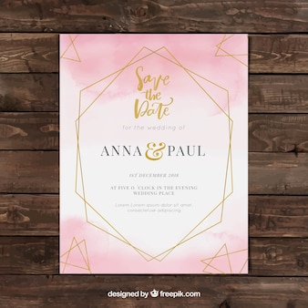 Watercolor wedding invitation template with geometry