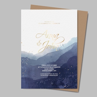 Watercolor wedding invitation template with gold text