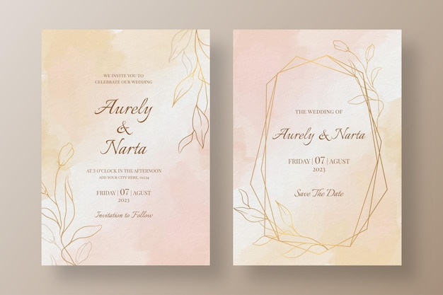 Акварель свадебные приглашения шаблон с золотыми цветами