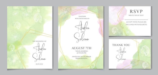 Шаблон свадебного приглашения акварель с золотой рамкой