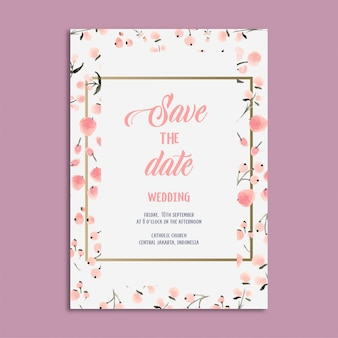 Watercolor wedding invitation template with golden frame