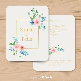 Watercolor wedding invitation template with golden lines