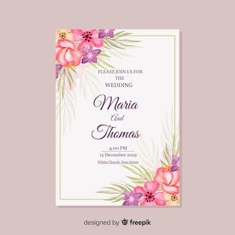 Watercolor wedding invitation template