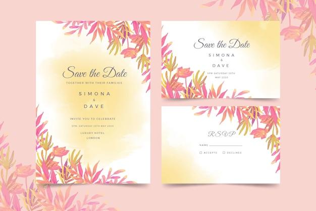 Watercolor wedding invitation template