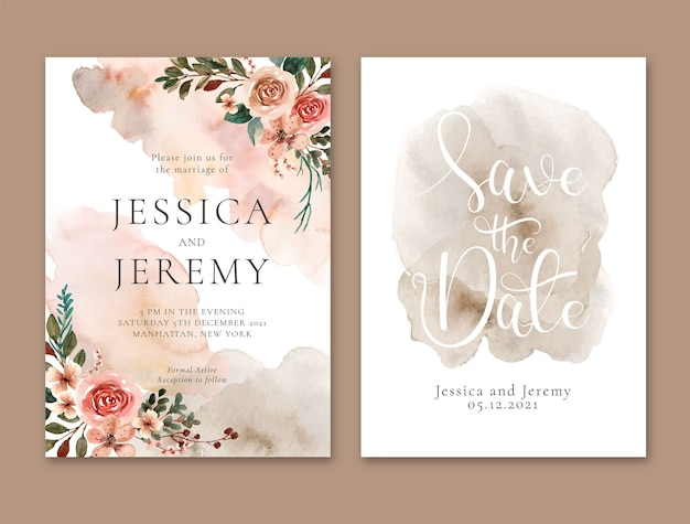 Watercolor wedding invitation with abstract terracota florals and stain