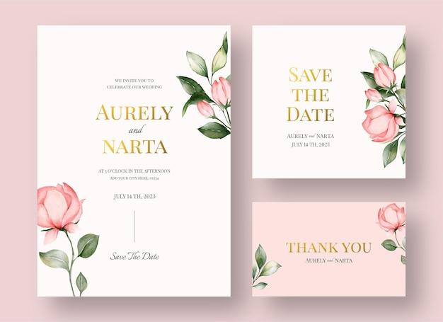 Акварель свадебные приглашения с красивым цветочным декором