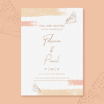 Watercolor wedding invitation with butterflies