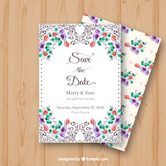 Watercolor wedding invitation with colorful flowers