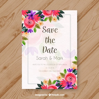 Watercolor wedding invitation with colorful flowers Free Vector