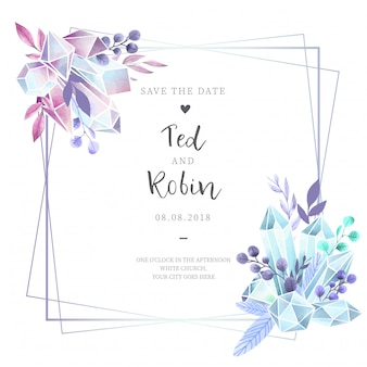 Watercolor Wedding invitation with Diamonds