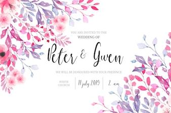花のボーダーと水彩の結婚式の招待状