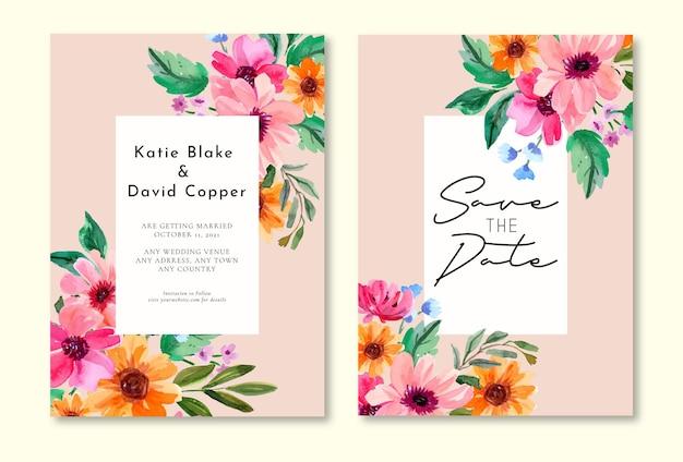 花のフレームと水彩の結婚式の招待状