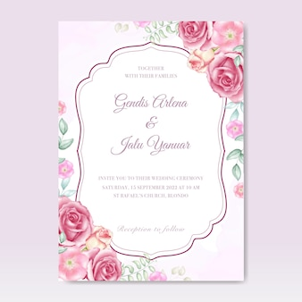 Watercolor wedding invitation with floral