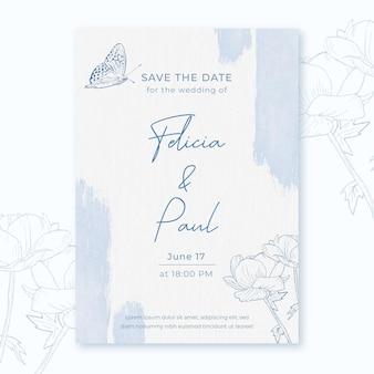 花と蝶と水彩の結婚式の招待状