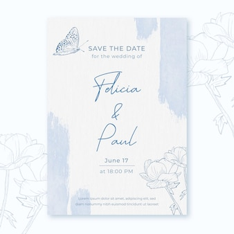 Watercolor wedding invitation with flowers and butterfly