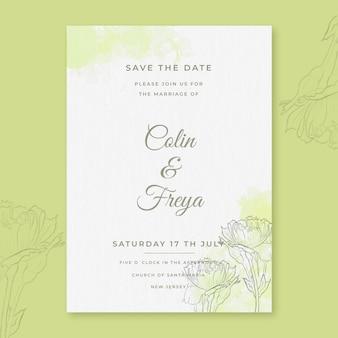 花と水彩の結婚式の招待状