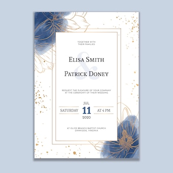 Watercolor wedding invitation with golden lines