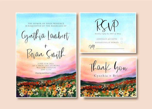 Watercolor wedding invitation with  landscape garden and sunset sky