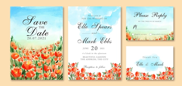 Watercolor wedding invitation with orange tulips and blue sky landscape