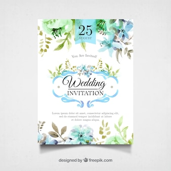 Watercolor wedding invitation with pretty flowers