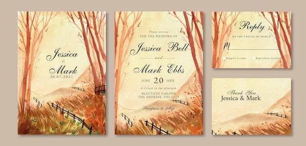 Watercolor wedding invitation with warm forest landscape painting