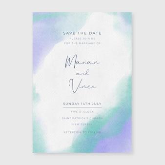 水彩の結婚式の招待状