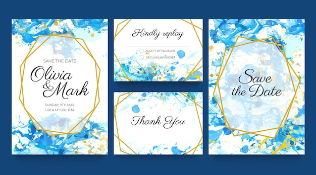 Акварельные свадебные пригласительные открытки. синие и золотые шаблоны приглашений с брызгами жидкой краски и золотыми. сохраните набор векторов даты. дизайн свадьбы, акварель фон элегантная иллюстрация