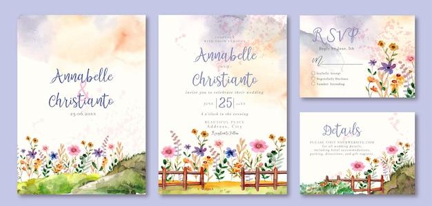 庭の春の花の水彩画の結婚式の活性化