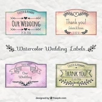 Акварельные свадебные этикетки