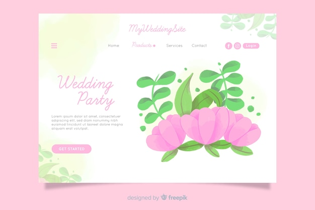 Watercolor wedding landing page template