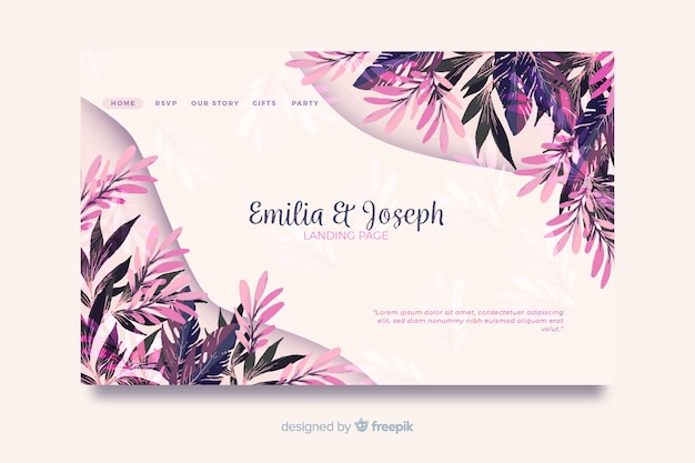 Watercolor wedding landing page