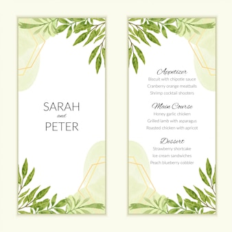 Watercolor wedding menu card with green foliage decoration