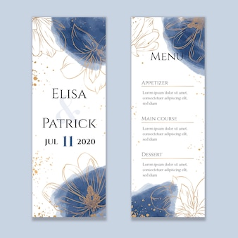 Watercolor wedding menu with golden lines