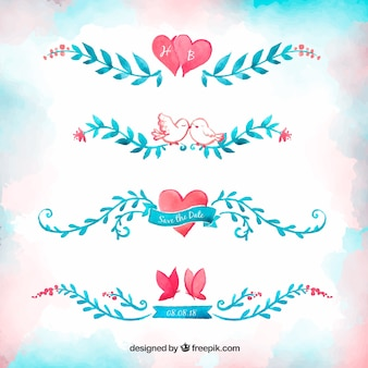 Watercolor wedding ornaments with lovely style