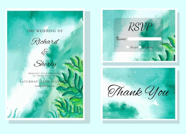 수채화 결혼식 인쇄 템플릿