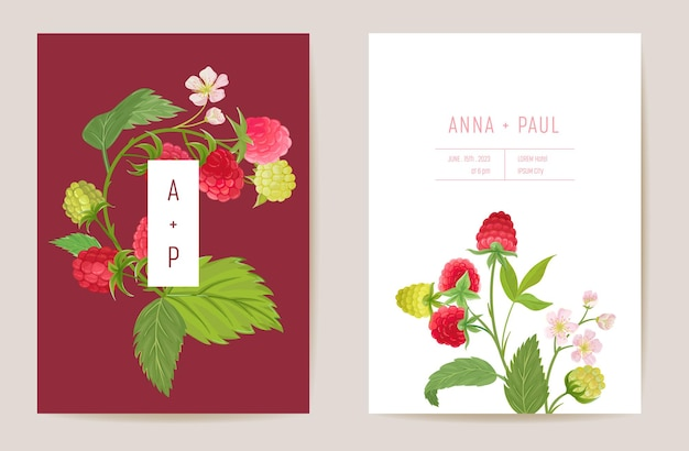 Watercolor wedding raspberry floral invitation. berry fruits, flowers, leaves card. botanical save the date template vector, summer cover, modern poster, trendy design, luxury background