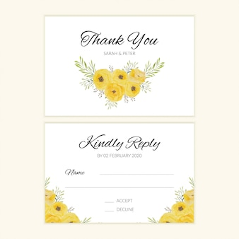 Watercolor wedding rsvp card with yellow rose bouquet