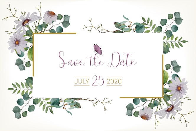 watercolor wedding save the date card