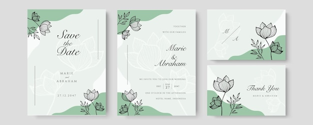 Watercolor wedding set. set of card with leaves and foliage line art floral. floral trendy templates for banner, flyer, poster, greeting in pastel color in green color
