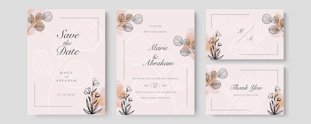 Watercolor wedding set. set of card with leaves and foliage line art floral. floral trendy templates for banner, flyer, poster, greeting in pastel color