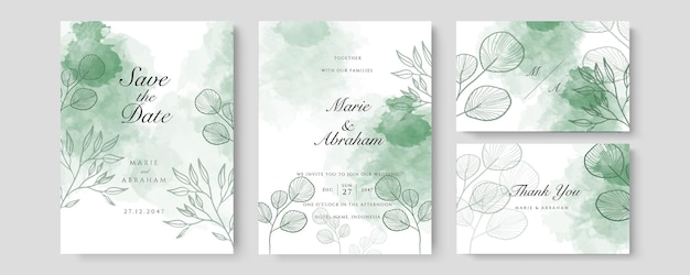 Watercolor wedding set. set of card with leaves and golden geometric frame. design with forest green leaves, eucalyptus, fern. floral trendy templates for banner, flyer, poster, greeting